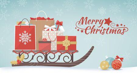 カラフルなクリスマス プレゼントや伝統的な木製のそりのショッピング バッグ クリスマス ショッピングとお祝いコンセプト バナー