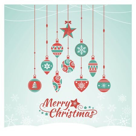 Vintage Christmas baubles composing a tree, Xmas wishes card