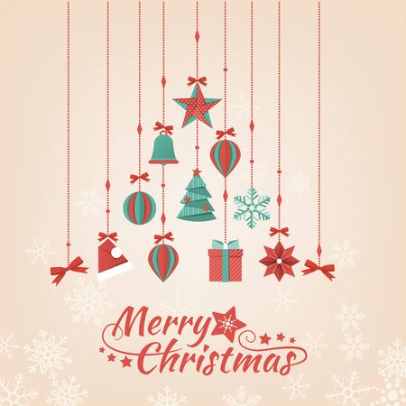 composing: Hand crafted paper Christmas decorations composing a tree, holiday and celebration banner Illustration