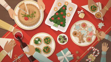 Familia feliz que cena de Navidad y comer comida deliciosa, de celebración y de fiesta de la bandera, vista desde arriba vegetariana