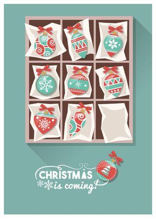 Vintage Weihnachtskugeln in einer Box, die Vorbereitung für Weihnachten Konzept