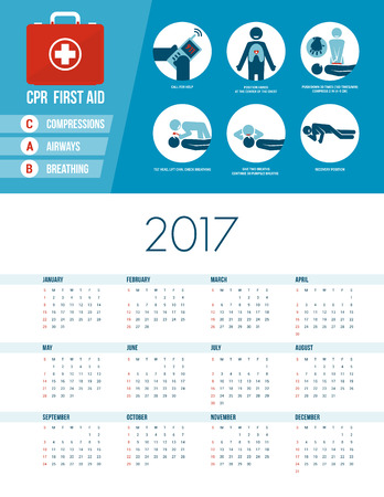 compressions: Cpr emergency medical procedure with stick figures, 2017 healthcare calendar