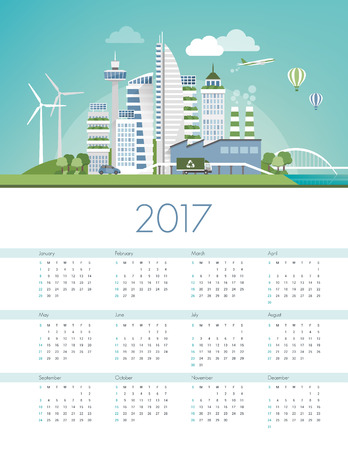 infrastructures: Green futuristic city skyline with wind turbines and solar panels, ecology and sustainability calendar 2017