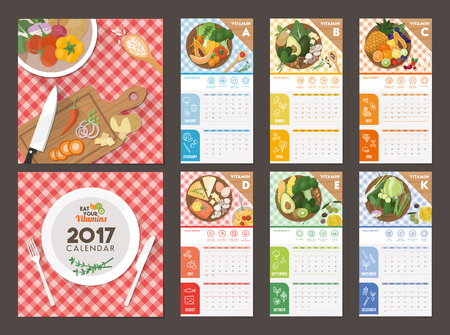 contained: Vitamins contained in daily food and diet, nutrition calendar 2017 Illustration