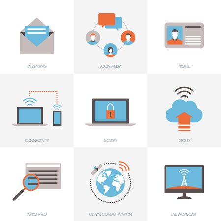 internet connection: Internet, connection, networks and social media icons set