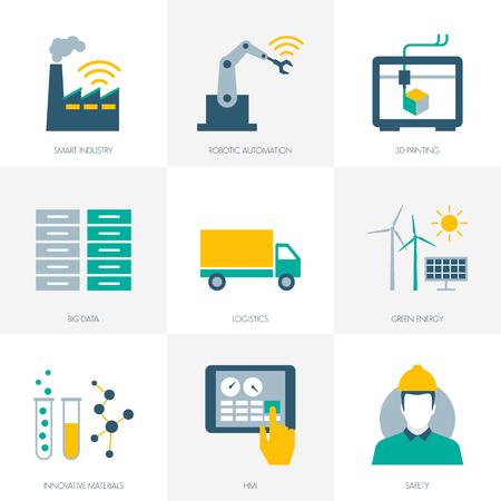 Industria 4,0, affari, automazione e produttività set di icone