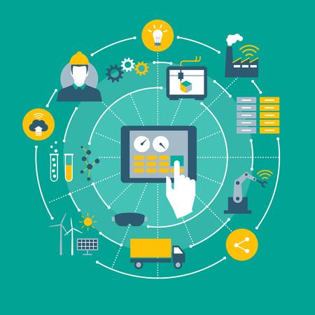 Industria 4.0, automatización, Internet de los objetos y conceptos de la tableta con el interfaz hombre-máquina Ilustración de vector