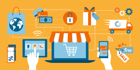 epayment: Online shopping, e-payment, retail and delivery concept, laptop with shopping cart at center