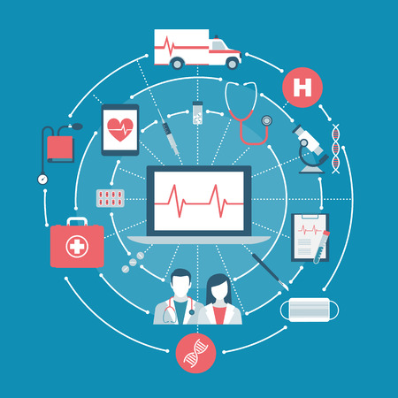 surgery concept: Healthcare, doctors, emergency and hospital concepts on a network with laptop at center Illustration