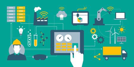 Industria 4.0, automatización, Internet de los objetos y conceptos de la tableta con el interfaz hombre-máquina