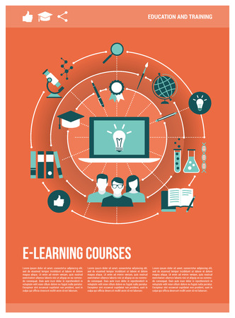 E-learning, education and training concepts network with laptop, poster template