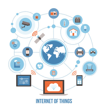 Internet of things, devices and connectivity concepts on a network, world globe at center Çizim