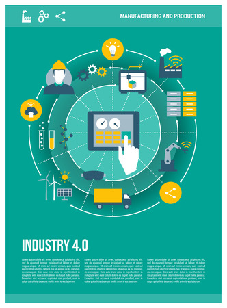 computerization: Industry 4.0, automation, internet of things concepts and tablet with human machine interface, poster layout