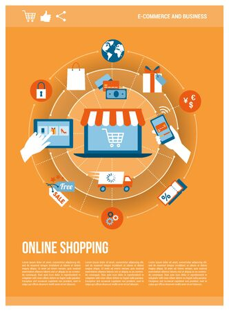 Online shopping, e-payment and retail concepts on a network with a laptop, poster template Illustration