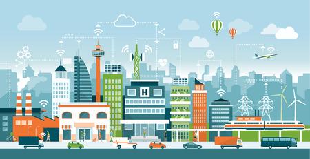 Schlaue Stadt mit modernen Gebäuden, Menschen und Verkehr; Netzwerke, Verbindung und Internet der Dinge Symbole oben Vektorgrafik