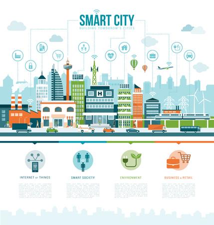 Inteligentes infografías contemporáneas de la ciudad con los iconos: realidad aumentada, servicios inteligentes y conexión a internet de las cosas concepto Ilustración de vector