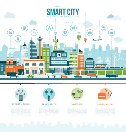 Smart contemporary city infographics with icons: augmented reality, smart services and internet of things concept Çizim