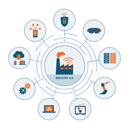 Industry 4.0 concepts: security, augmented reality, automation, internet of things and cloud computing Фото со стока - 67104346