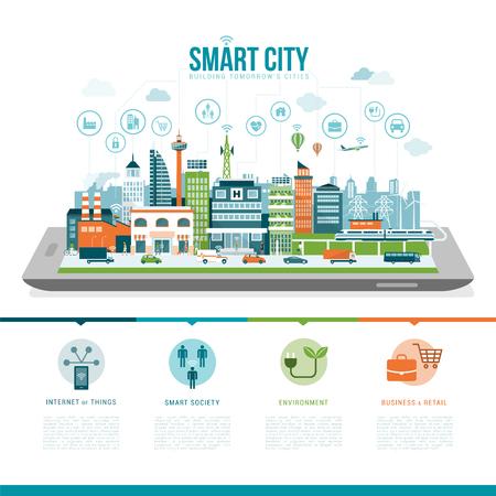 sociedade: cidade inteligente em uma tabuleta digital ou smartphone: serviços inteligentes, aplicações, redes e conceito de realidade aumentada Ilustração