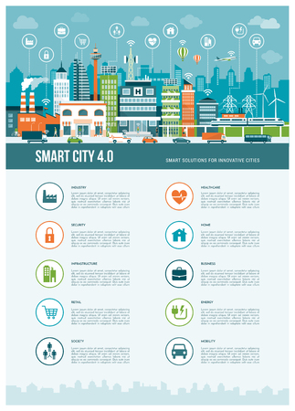 Inteligentes infografías contemporáneas de la ciudad con los iconos: realidad aumentada, redes inteligentes y la Internet de las cosas concepto