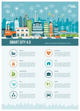 Intelligente moderne Stadtinfografiken mit Symbolen: Augmented Reality, intelligente Netze und Internet der Dinge Konzept