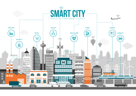 wireless communication: Smart city with smart services and icons, internet of things, networks and augmented reality concept