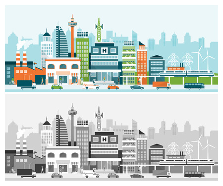 Smart city with contemporary buildings, services, people and traffic on the street