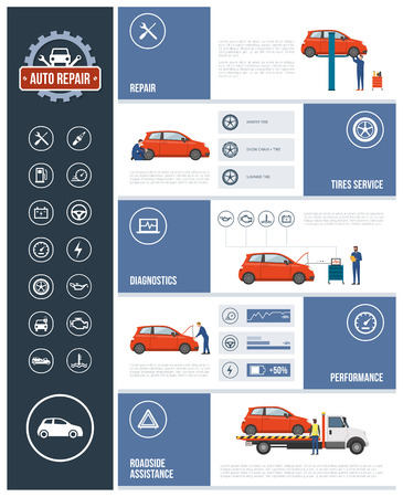 roadside assistance: Auto repair service infographic with mechanics working on a car, text and icons set: repair, tires, diagnostics, performance, roadside assistance