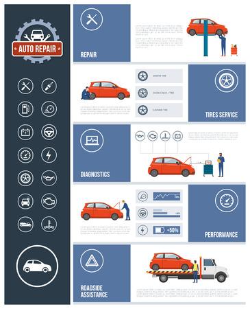 riparazione auto di servizio infografica con meccanici che lavorano su una macchina, testo e le icone set: riparazione, pneumatici, diagnostica, prestazioni, assistenza stradale