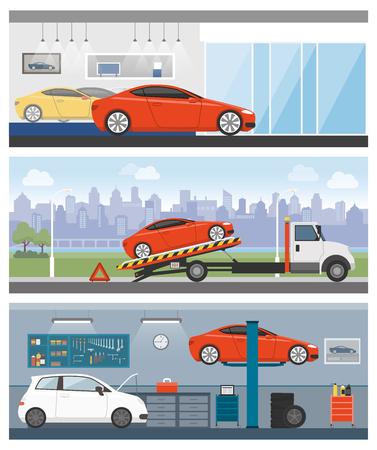 roadside assistance: Car dealership, roadside assistance and auto repair shop banners set