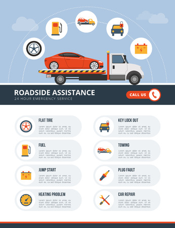 the roadside: Roadside assistance infographic with tow truck, car and a list of services