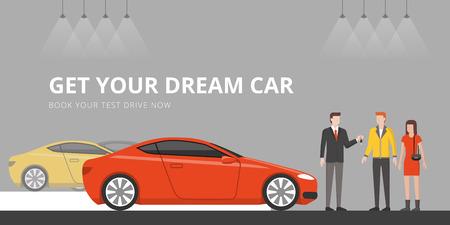 Klienci kupujący nowy samochód w salonie dealerskim, sprzedający daje im kluczyki do samochodu Ilustracje wektorowe