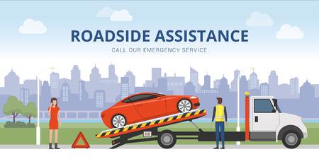 길가 지원 및 자동차 보험 개념 : 견인 트럭과 여성 호출하는 응급 서비스에 깨진 자동차 일러스트