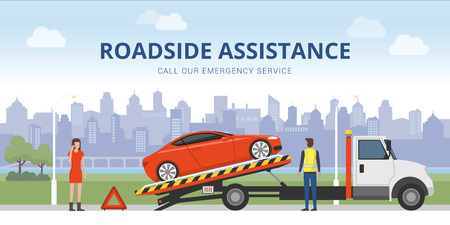 Roadside assistance and car insurance concept: broken car on a tow truck and woman calling emergency services Stock Illustratie
