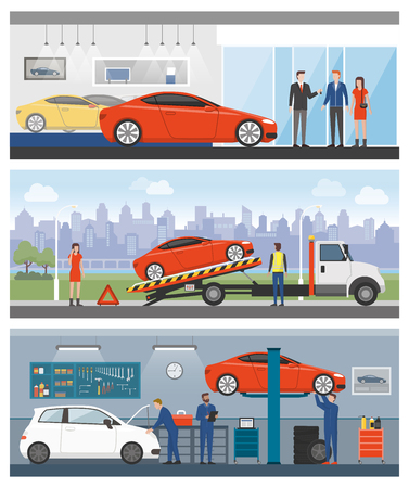dealership: Car dealership, roadside assistance and auto repair shop with people and workers banners set