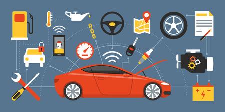 Car Mainteinance und Reparatur-Konzept, rot Luxus-Auto umgeben von Auto-Teile, Werkzeuge und Icons