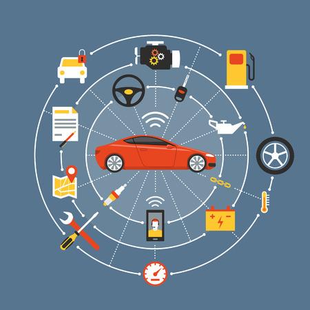 Car Mainteinance und Reparatur-Konzept, rot Luxus-Auto umgeben von Auto-Teile, Werkzeuge und Icons Vektorgrafik