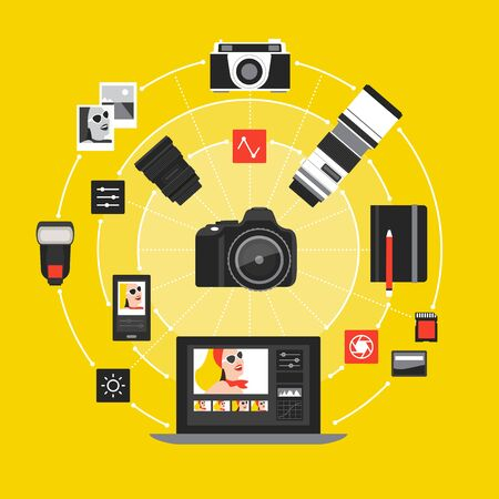 Photography and photo editing concept: camera, laptop and photography equipment connecting together