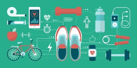 Aptitud; los deportes y el concepto de estilo de vida saludable: entrenamiento y calzados deportivos que conecta juntos