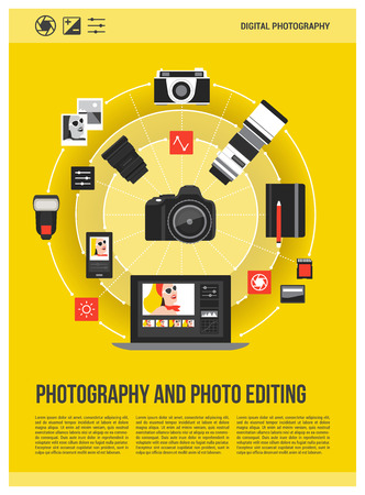 Photography and photo editing concept poster: camera, laptop and photography equipment connecting together