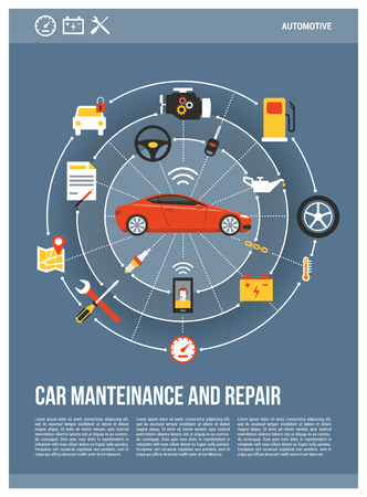 Car maintenance and repair concept posters, red luxury car surrounded by auto parts, tools and icons