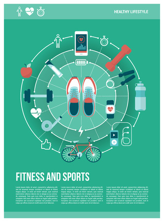 jogging: Fitness; sports and healthy lifestyle concept poster: training shoes and sports equipment connecting together
