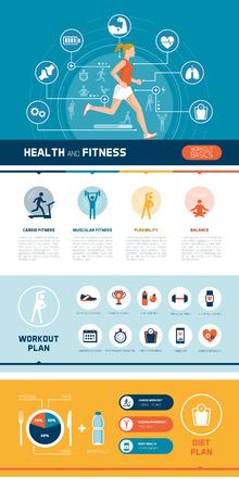 forme et sante: Fitness, sport, infographies alimentation saine et l'exercice avec femme et fonctionnement concepts abstraits de santé Illustration