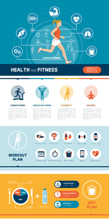 health and fitness: Fitness, sports, healthy diet and exercise infographics with woman running and abstract health concepts Illustration