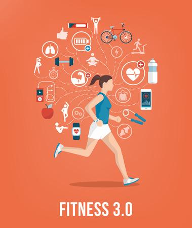 Athletic jonge vrouw die, omringd door fitness concepten en pictogrammen