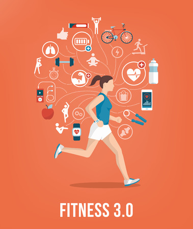 physical activity: Athletic young woman running surrounded by fitness concepts and icons