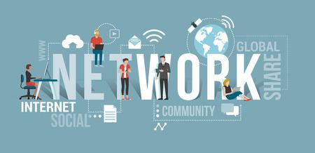 Gente de negocios y usuarios que se conectan a la red usando computadoras y dispositivos móviles: concepto de tecnología de comunicación con iconos y palabras