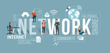 Business people and users connecting to the network using computers and mobile devices: communication technology concept with icons and words