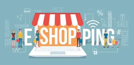 internet shopping: People entering a virtual shop holding shopping bags: e-shopping and e-commerce concept with icons and words