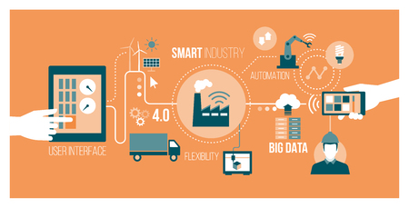 Inteligentna branża 4.0, koncepcja automatyzacji i interfejsu użytkownika: użytkownicy łączący się z tabletem i smartfonem, wymiany danych z systemem cyfrowo-fizycznym Ilustracje wektorowe